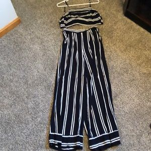 Navy and white striped 2 piece set